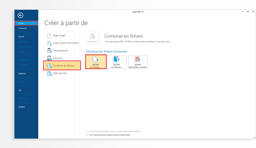 Launch the Expert PDF 14 application, click onCreatein theFilemenu, and selectMerge files.