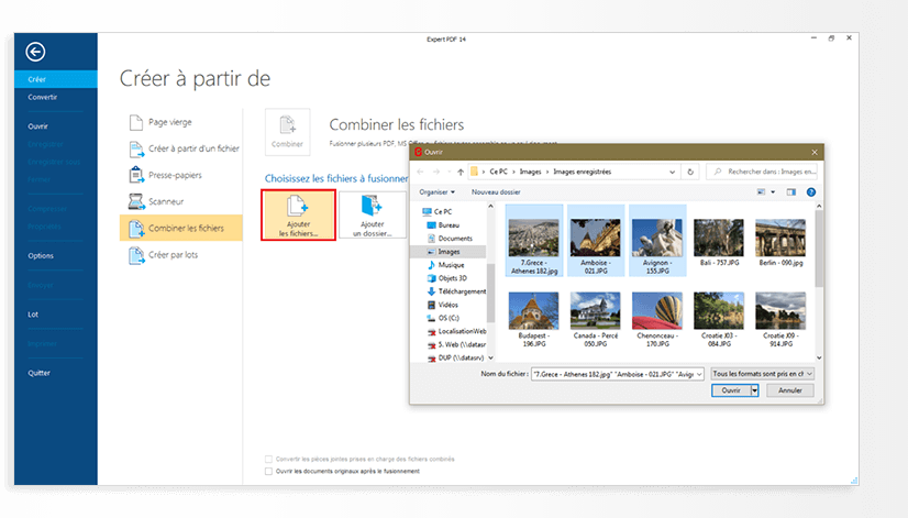 In the dialogue box below, click Add filesto add the images you want to collate in a single PDF.