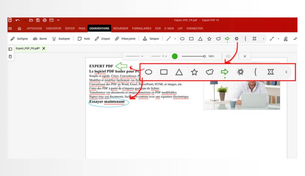 Add lines, shapes (e.g. arrows, rectangles, ovals, clouds, explosions) or pencil drawings to make your documents easier to read and understand.