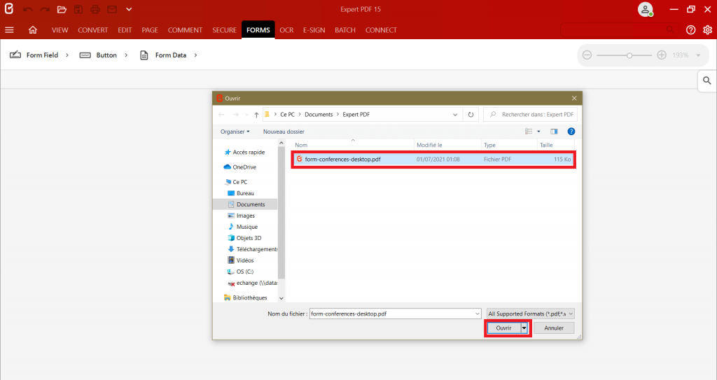 In the dialogue box, select the document you want to edit to create a PDF form from any format you like.