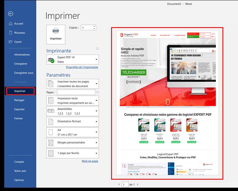 Création de PDF depuis n'importe quelle application PC,...