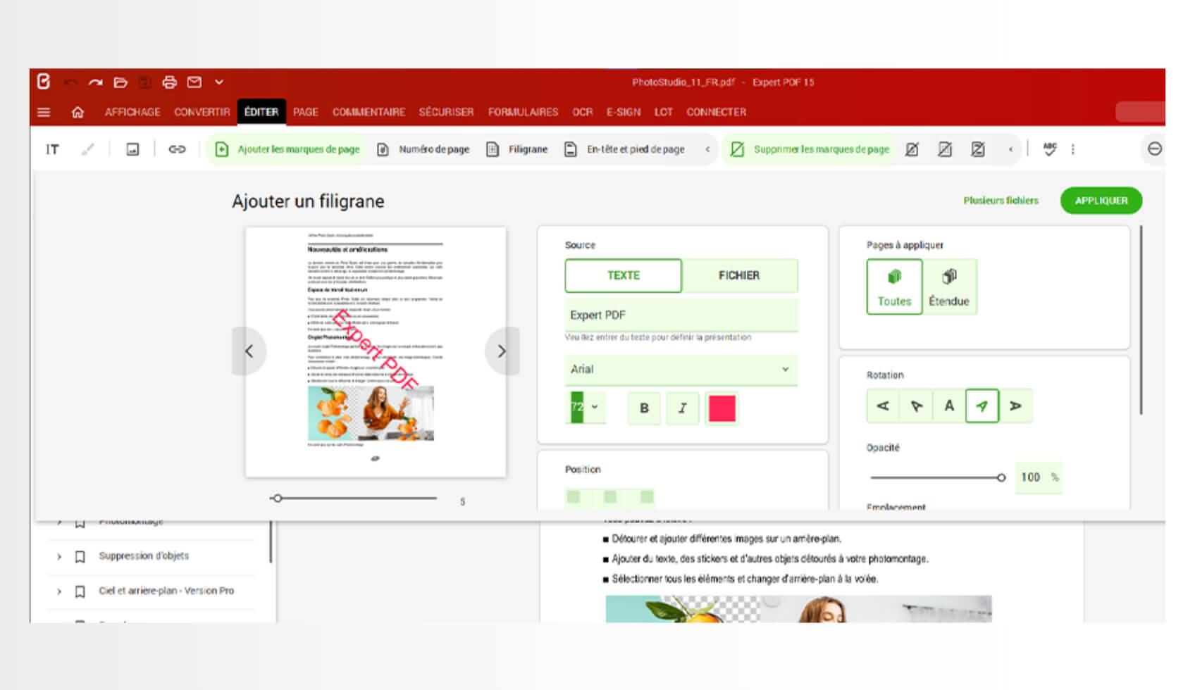 Ajoutez, supprimez et éditez des filigranes personnalisés sous ou sur le contenu existant de vos documents en tant qu'élément fixe.Grâce aux filigranes, les personnes non autorisées ne peuvent pas utiliser et partager vos fichiers PDF.Depuis le module Editer, cliquez sur Filigrane pour ajouter un filigrane simple ou personnalisé.Utilisez des filigranes pour des pages sensibles et créez un FILIGRANE « CONFIDENTIEL »