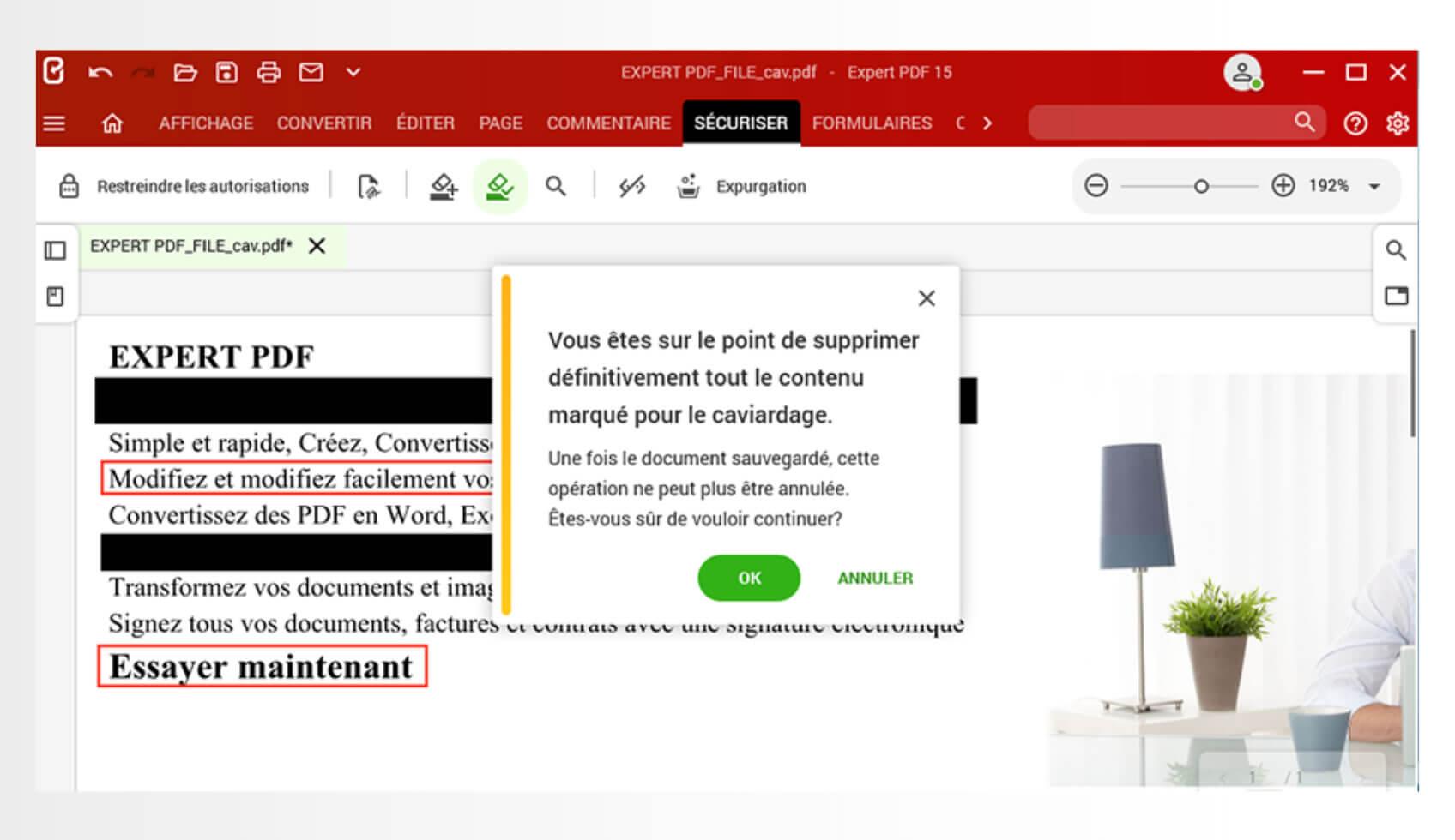 Supprimez définitivement des informations confidentielles sur vos documents PDF.Avec la fonction de caviardage disponible dans l'onglet Sécuriser, recherchez et masquez les données sensibles sur les pages d'un document.
