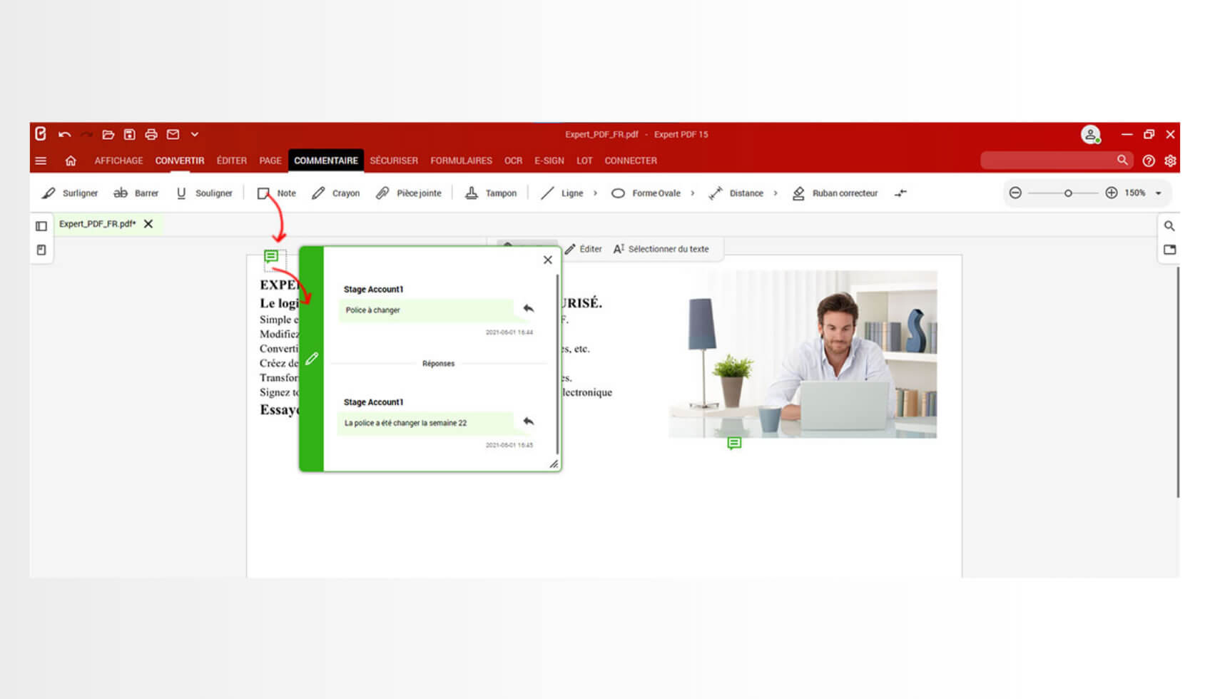 Il existe plusieurs outils afin d'annoter un document PDF. Le logiciel Expert PDF dispose des fonctions note, surlignage ou encore soulignage du texte pour commenter les pages de votre document. Il est aussi possible de supprimer certains éléments à l'aide du correcteur intégré.Pour annoter vos documents, rendez-vous directement dans l'onglet Commentaire.