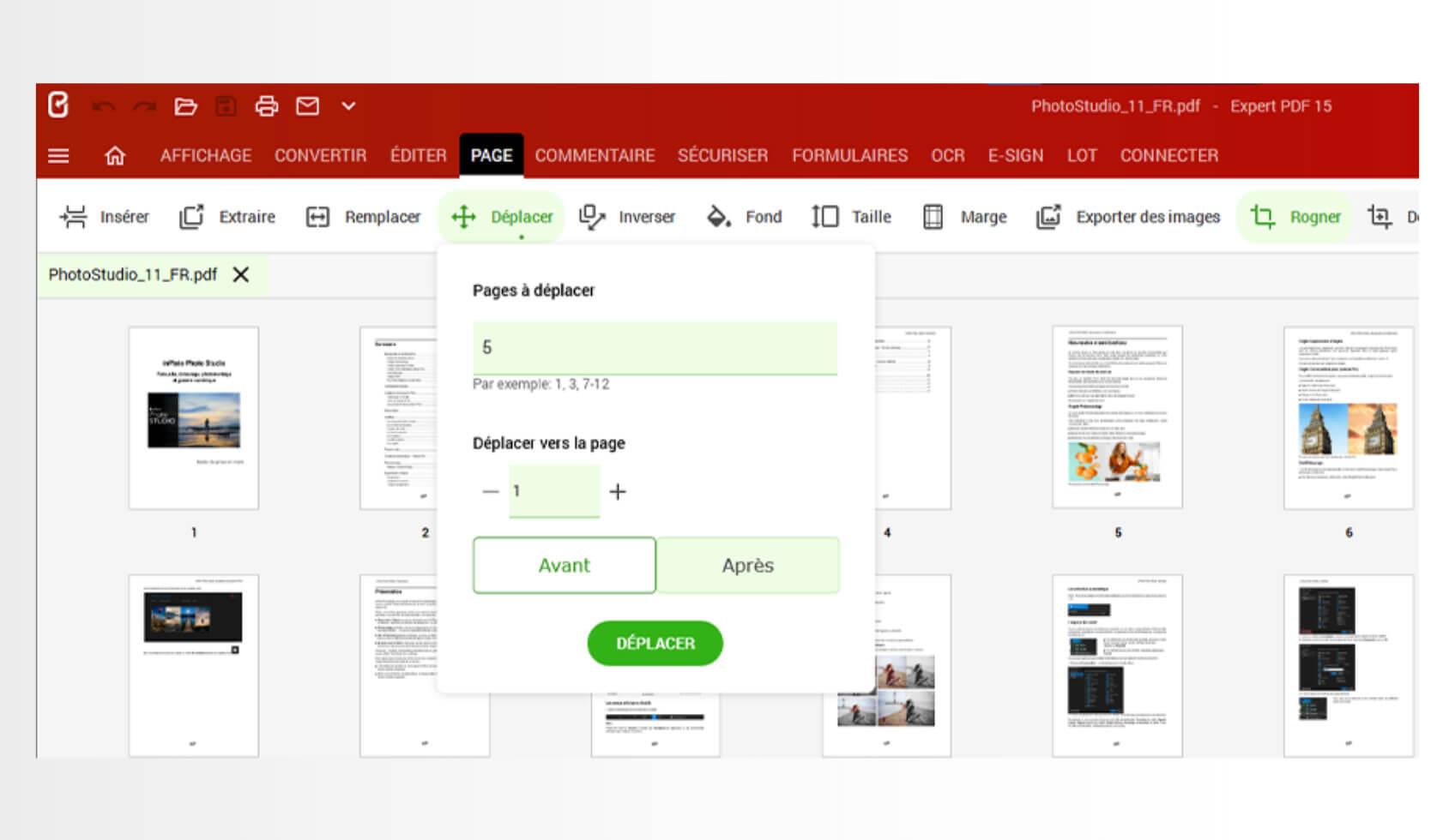 Agencez à votre guise vos fichiers PDF grâce à aux différentes fonctions de déplacement, suppression, extraction, rognage, rotation et copie de pages.Depuis le module Page, cliquez sur le bouton Insérer pour ajouter des pages vierges ou provenant de fichiers PDF pour compléter vos documents.