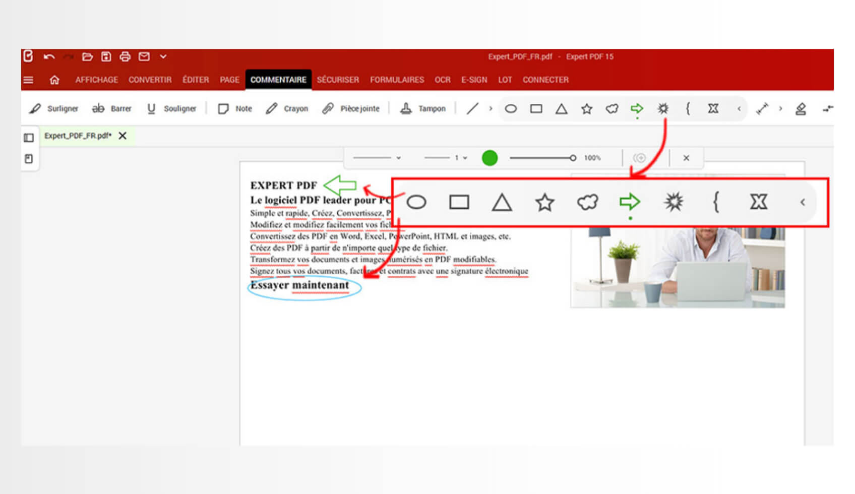 Ajoutez des lignes, et des formes variées (flèche, rectangle, ovale, nuage, explosion…), des dessins au crayon pour rendre la lecture de vos documents plus simple et facile à suivre.