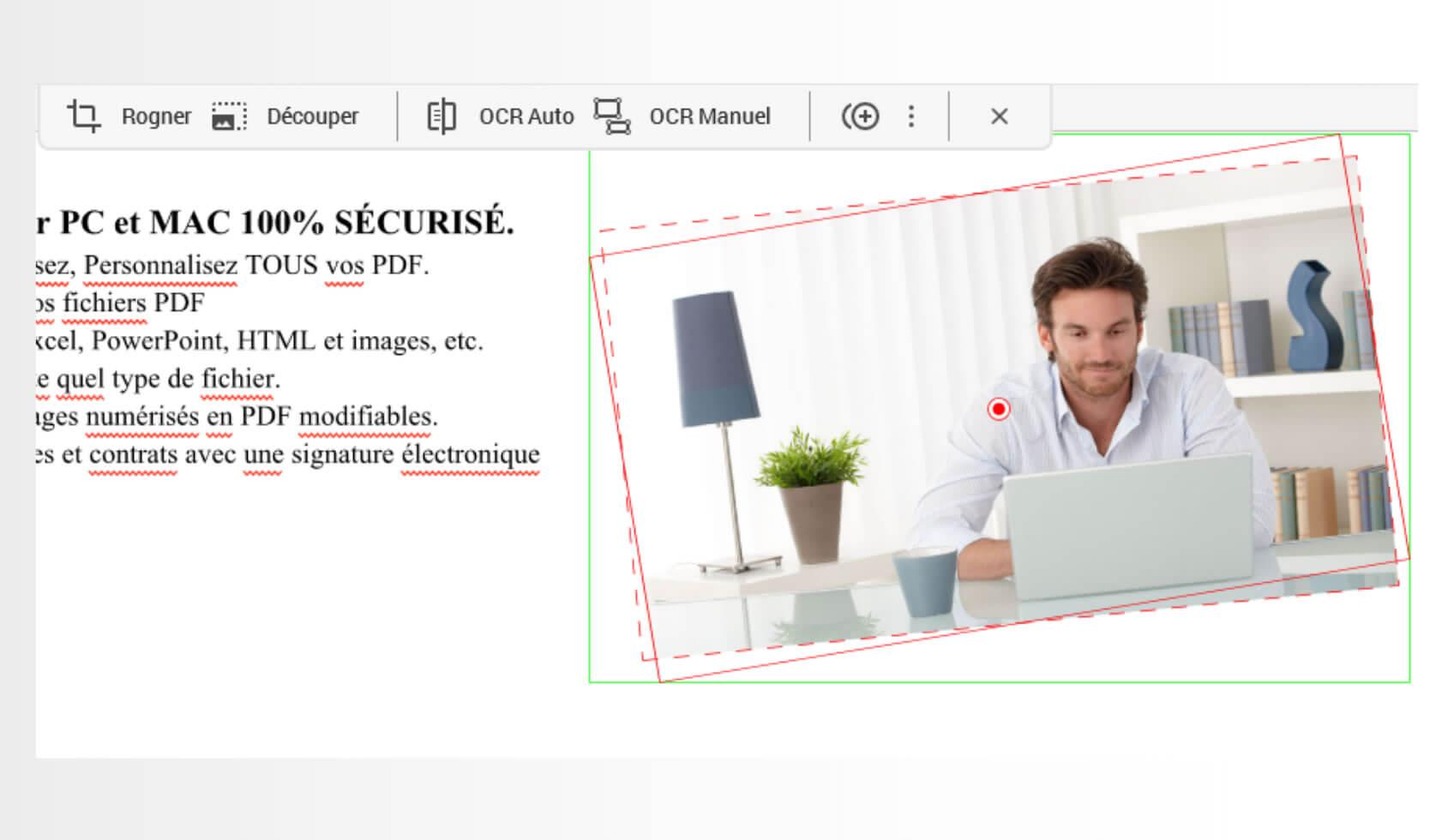 Pour ajouter des images sur votre PDF, cliquez sur Insérer une image depuis l'onglet Editer et sélectionnez l'image que vous souhaitez insérer.