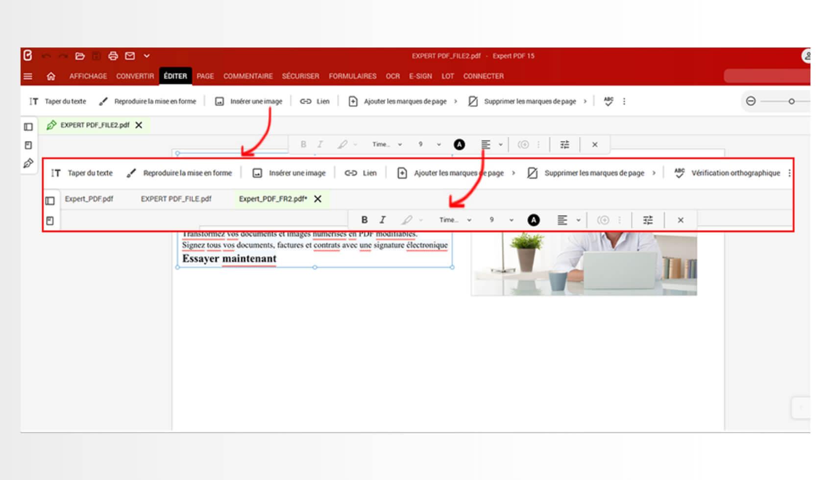 Ajoutez facilement du texte sur vos documents PDF en cliquant sur l'onglet Editer de la barre de navigation. Puis sélectionner le bouton Taper du texte et cliquez à l'endroit où vous souhaitez ajouter le contenu texte.Changez la mise en forme de votre texte en modifiant la couleur de la police, la taille, l'ajustement du texte, l'alignement de l'espacement via le mode d'édition de texte.Vous pouvez également couper, copier, coller, supprimer et déplacer le texte où vous le souhaitez sur votre PDF.