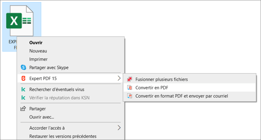 Convertir EXCEL en PDF simplement