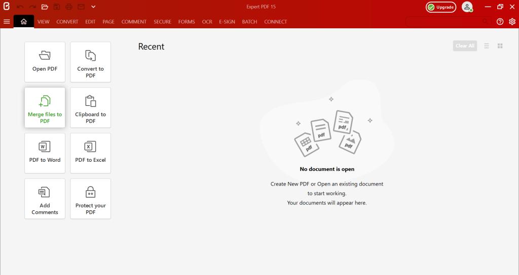 Lancez le logiciel Expert PDF, et cliquez sur le bouton Fusionner des fichiers en PDF.