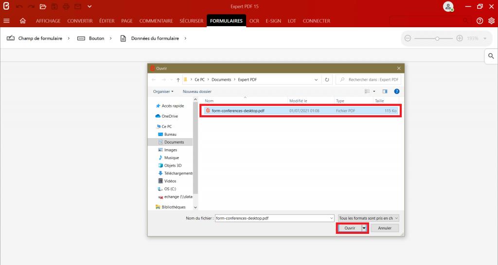 Sélectionnez dans la boite à dialogue le document que vous souhaitez éditer pour créer un formulaire PDF depuis n'importe quel format.
