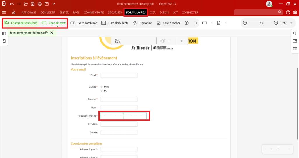 Pour ajouter un champ de saisie sur votre formulaire PDF, cliquez sur l'outil que vous souhaitez insérer depuis le groupe Champs de formulaire de l'onglet Formulaires et cliquez sur le document pour positionner votre champ.