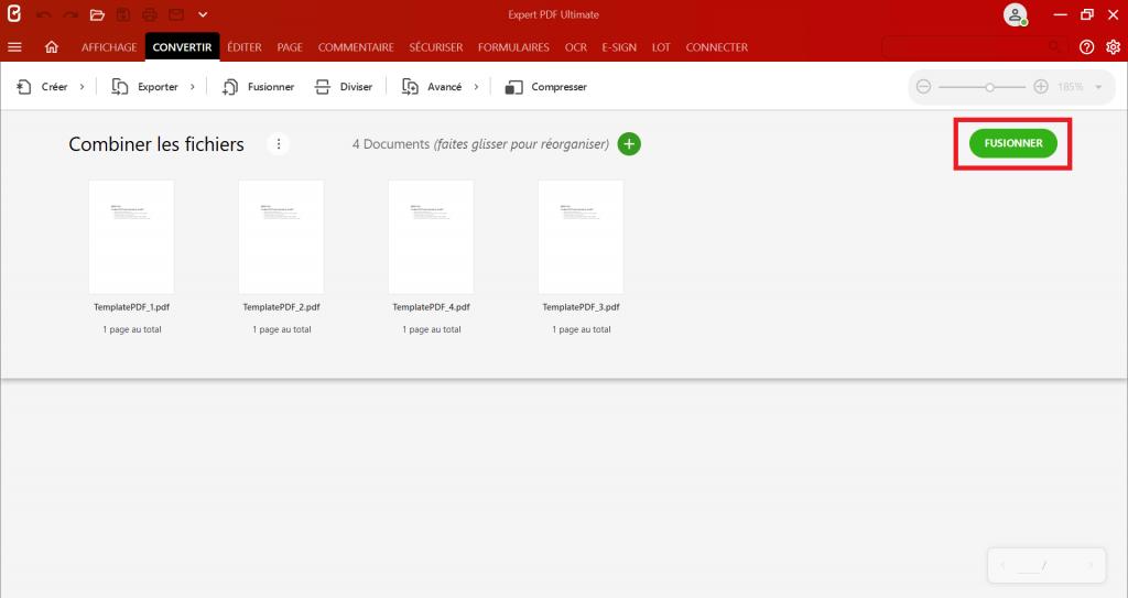 Une fois que tous vos PDF sont positionnés dans le bon ordre, cliquez sur le bouton Fusionner pour créer un PDF unique depuis plusieurs PDF.