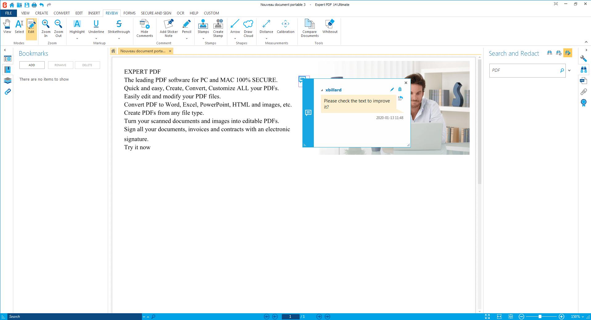 Genehmigen Sie PDFs, bringen Sie mit der Kommentarfunktion...