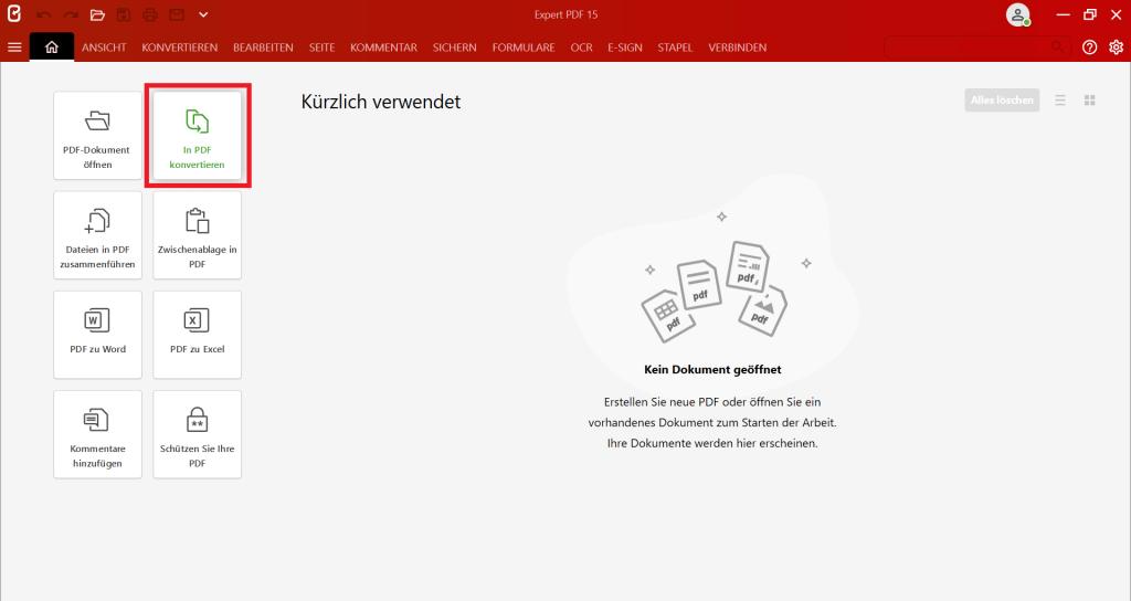 """Starten Sie zunächst die Software Expert PDF und klicken Sie auf die Schaltfläche """"In PDF konvertieren"""""""