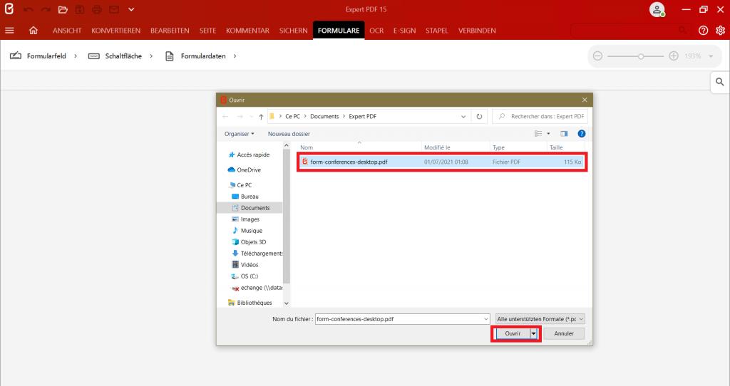 Wählen Sie imDialogfeld, das Dokument, das Sie bearbeiten möchten, um aus einem beliebigen Dateiformat ein PDF-Formular zu erstellen.