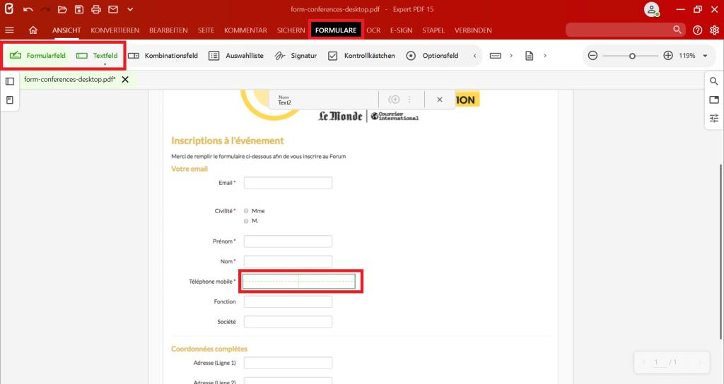 """Um ein Eingabefeld zu Ihrem PDF-Formular hinzuzufügen, klicken Sie in der GruppeFormularfeldder Registerkarte """"Formulare"""" auf das Tool, das Sie einfügen möchten, und klicken Sie auf das Dokument, um Ihr Feld zu positionieren."""