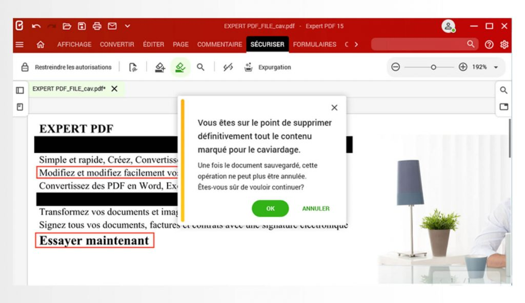 Elimine permanentemente información confidencial de sus documentos PDF.Con la función de purga disponible en la pestaña Proteger, busque y oculte los datos confidenciales en las páginas de un documento.
