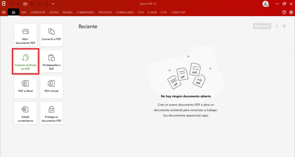 Inicie Expert PDF y, a continuación, haga clic en el botónFusionar archivos en PDF.