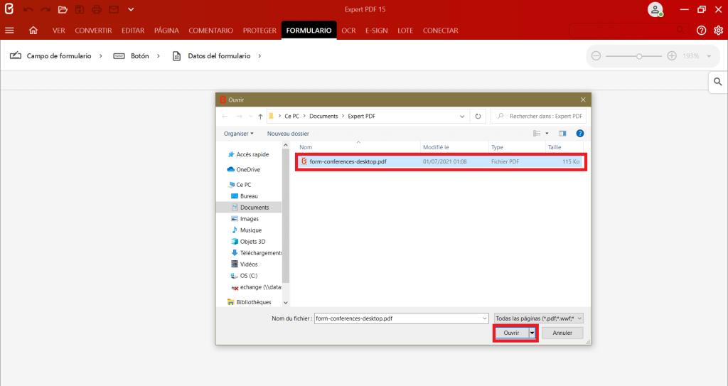 Seleccione el documento que desea editar en elcuadro de diálogopara crear un formulario PDF a partir de cualquier formato.