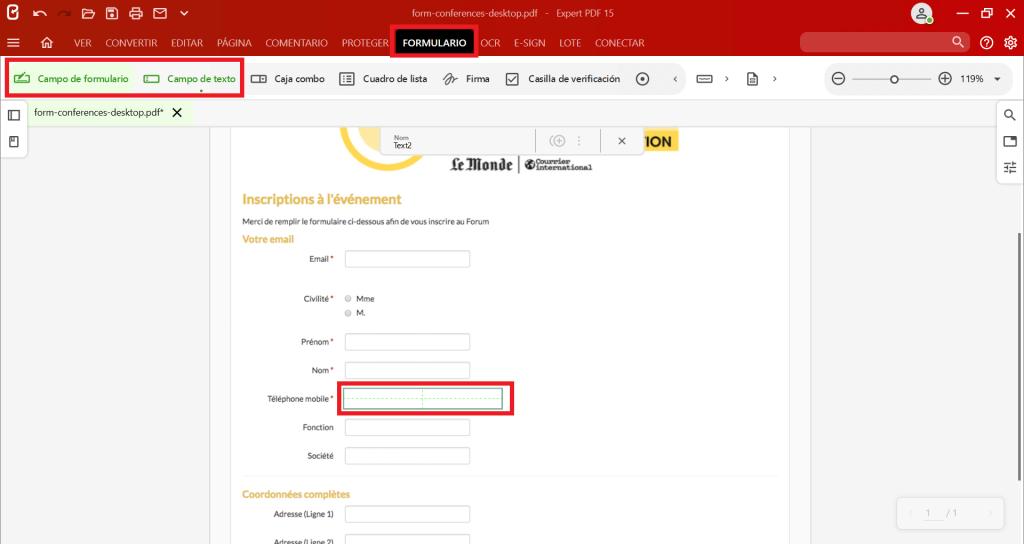 Para añadir un campo de entrada al formulario PDF, haga clic en la herramienta que desee insertar del grupoCampo de formularioen la pestañaFormulariosy haga clic en el documento para colocar el campo.