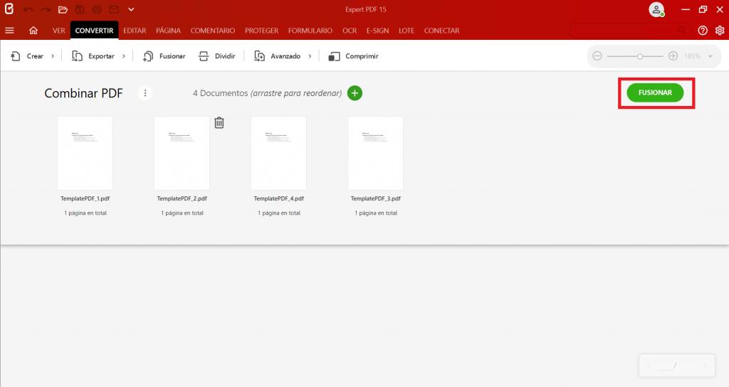 Una vez que todos los PDF estén en el orden correcto, haga clic en el botónFusionarpara empezar a crear un PDF a partir de varios PDF.