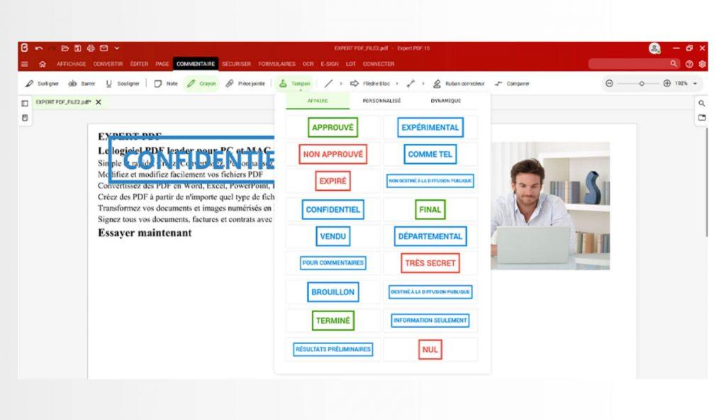 Aggiungi i tuoi timbri predefiniti dalla libreria dei timbri oppure personalizzali con un'immagine creata dal modulo Commenti. Con Expert PDF puoi anche utilizzare dei timbri dinamici per indicare automaticamente la data e l'ora del tuo marchio grafico su un documento PDF.