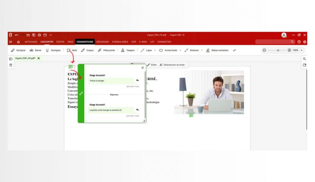 Det finns flera verktyg för att kommentera ett PDF-dokument. Programvaran Expert PDF har funktionerna anteckning, markering eller understrykning av text för att kommentera sidorna i ett dokument. Det är också möjligt att ta bort vissa delar av innehållet med den integrerade korrigeraren.För att kommentera dina dokument, gå direkt till fliken Comment (Kommentar).