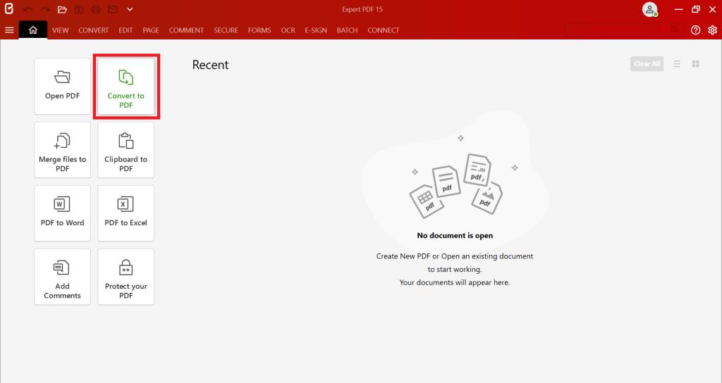 Börja med att starta programvaran Expert PDF och klicka sedan på knappenKonvertera till PDF.