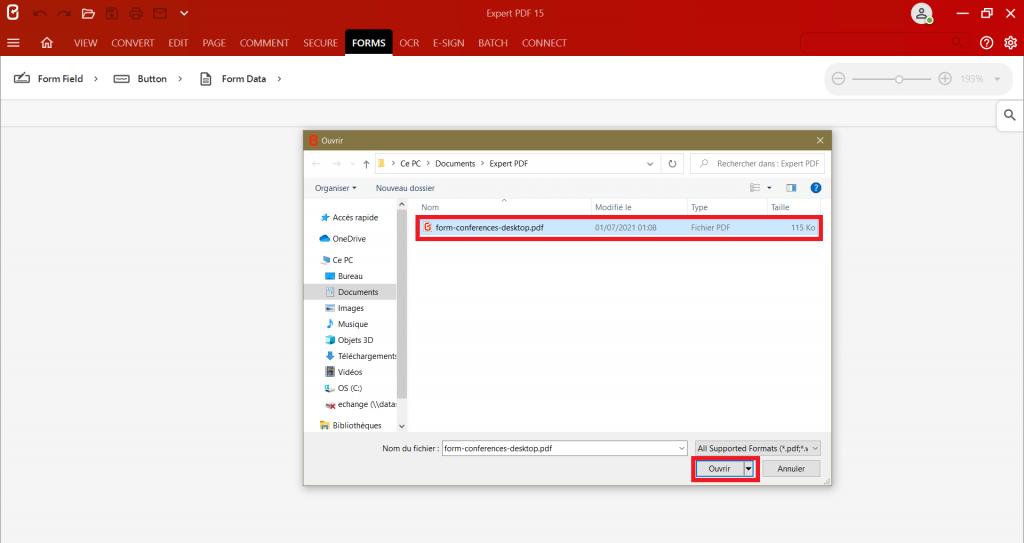 Idialogrutanväljer du det dokument du vill redigera för att skapa ett PDF-formulär utifrån vilket format som helst