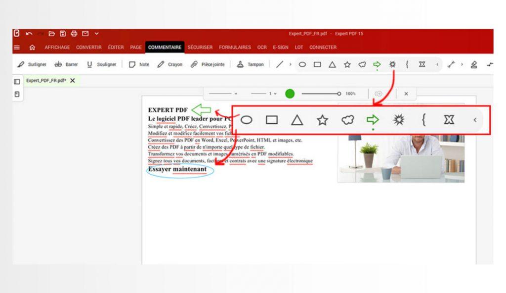 Voit lisätä viivoja, erilaisia muotoja (nuoli, suorakulmio, soikio, pilvi, räjähdys…) ja kynäpiirroksia helpottamaan asiakirjojen lukemista ja niiden seurattavuutta.
