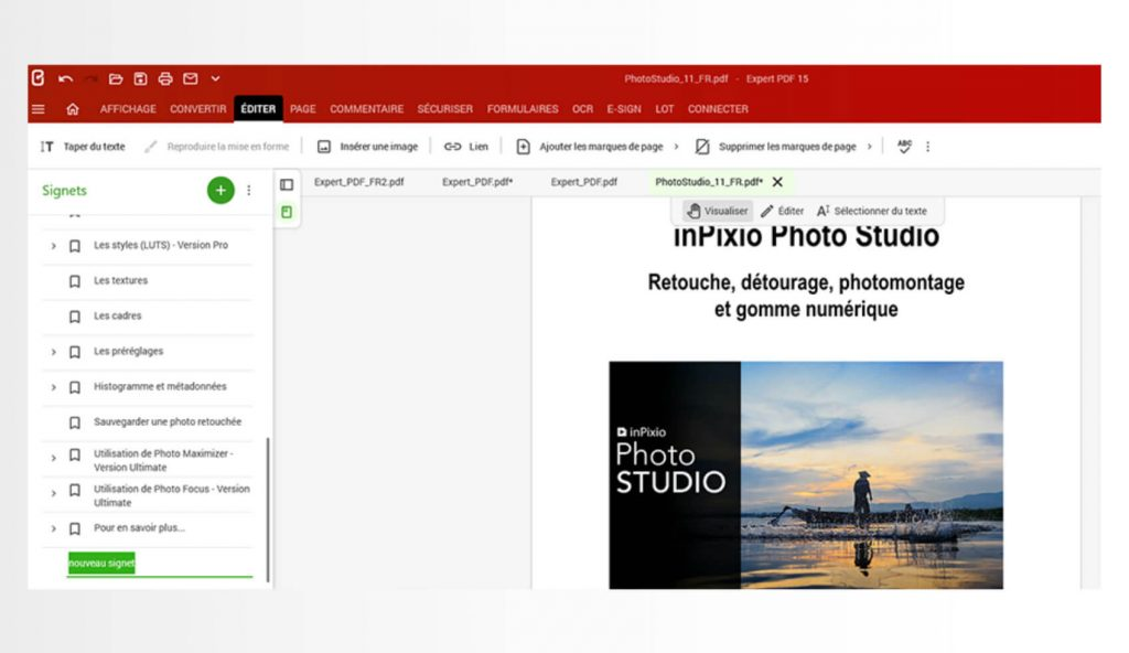 Voit helpottaa navigointia PDF-asiakirjoissa ohjelmiston sisäänrakennetun kirjanmerkkien hallintatyökalun avulla.