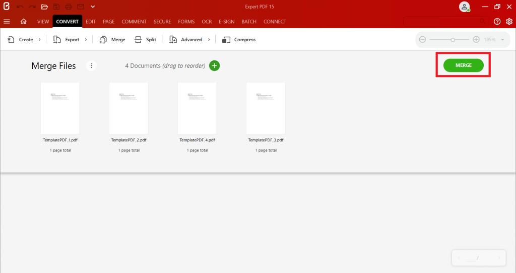 Kun kaikki PDF-tiedostosi ovat oikeassa järjestyksessä, voit aloittaa PDF-tiedoston luonnin napsauttamallaMerge files to PDF(Yhdistä tiedostot PDF:ksi).
