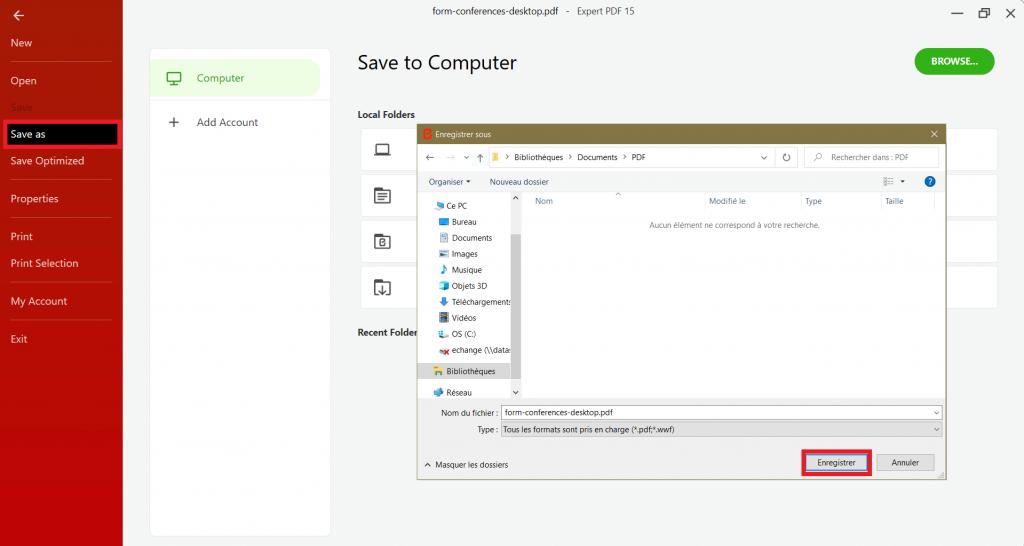 Kun lomake on valmis, napsauta päävalikossaSave as(Tallenna nimellä) ilmoita PDF-lomakkeen nimi, sen sijainti ja napsautaSave(Tallenna).